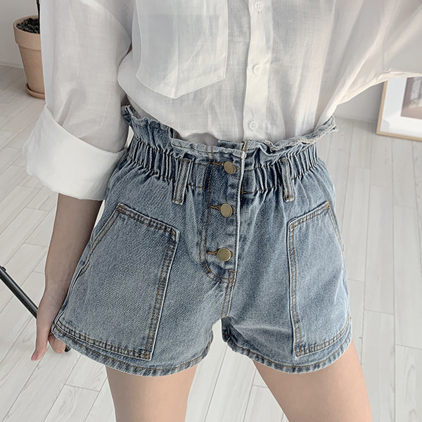 Banding Strap Denim Shorts - (3Color) #776